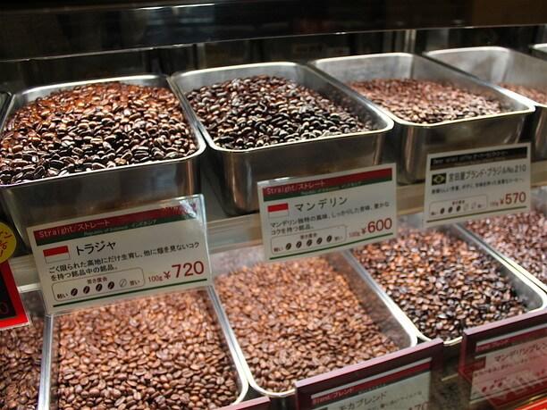 様々な種類のコーヒー豆