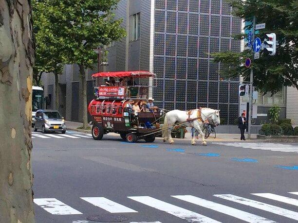 車道を走る馬車