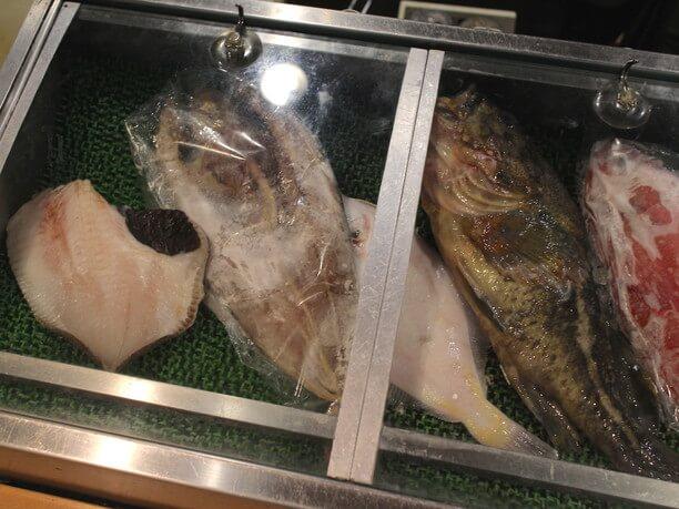 ガラスケースの魚