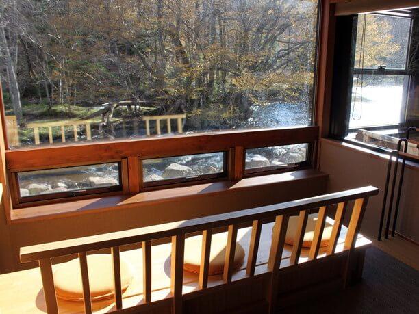 窓を外には川の流れと野鳥の声だけが響く