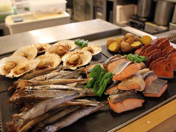 道東産魚介の炙り焼き
