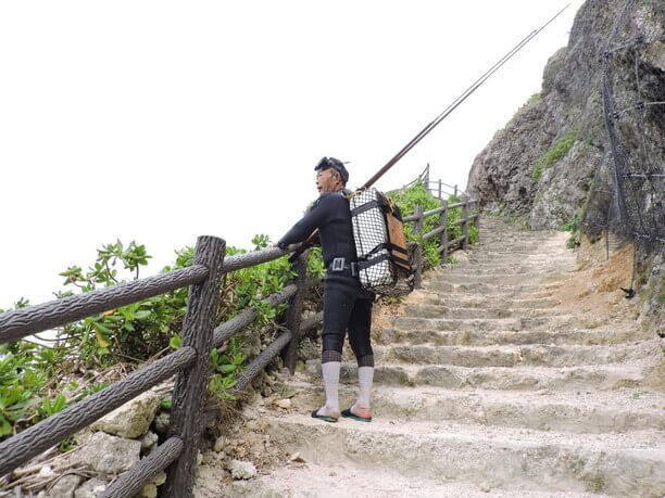 階段から景色を眺める人