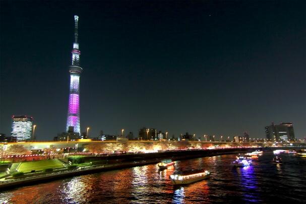 夜の隅田川と屋形船